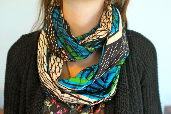 African Wax Block Infinity Scarf Blue, green, black and brown by LifeStitchedTogether