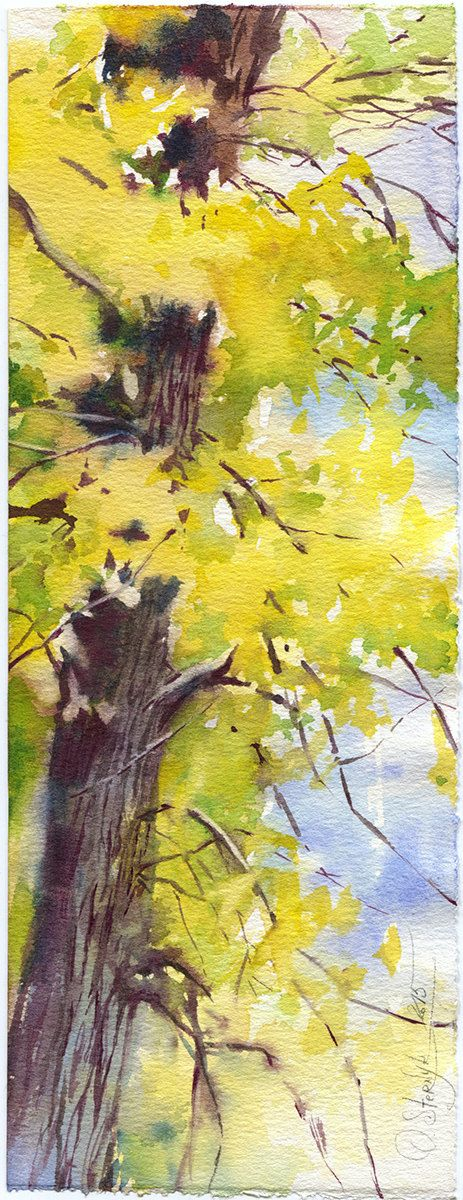 Autumn forest watercolor painting - print of yellow woods painting ...
