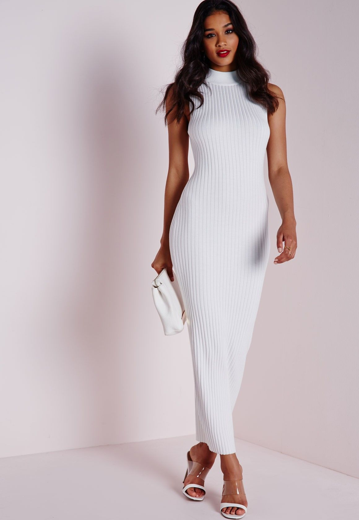 27afc166ba67 Missguided - Maxi Knitted Rib Dress White Robe Blanche Longue