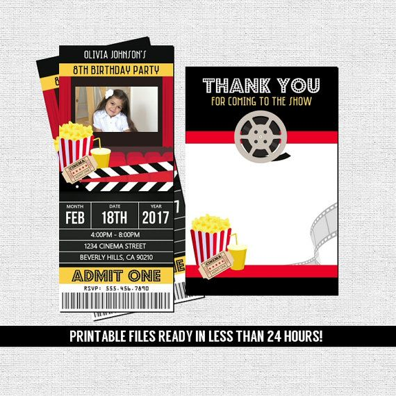 MOVIE TICKET INVITATIONS Theater Birthday Party + Free Thank You - print your own tickets template free