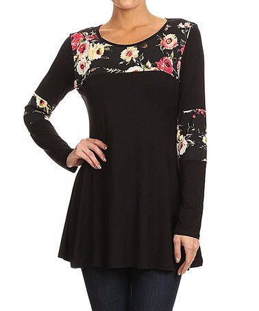 Another great find on #zulily! Black & Floral-Accent Top #zulilyfinds