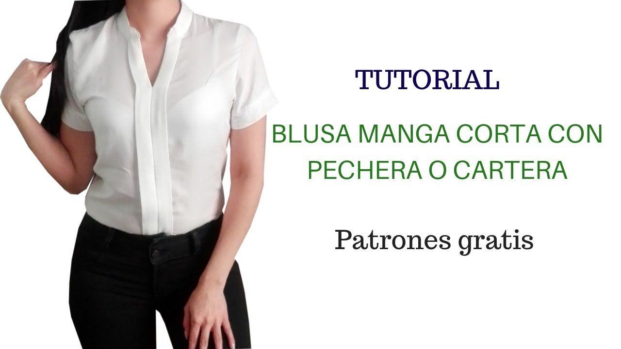 ef592bb2c DIY Como hacer una blusa con pechera mujer corte y confección ...