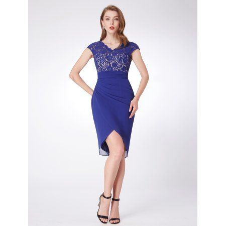 f52338bff728 Ever-Pretty Womne's Sexy Knee-Length V-Neck Lace Summer Cocktail Party  Wedding Guest Dresses for Women 04061 Royal Blue US 16 #weddingdresses