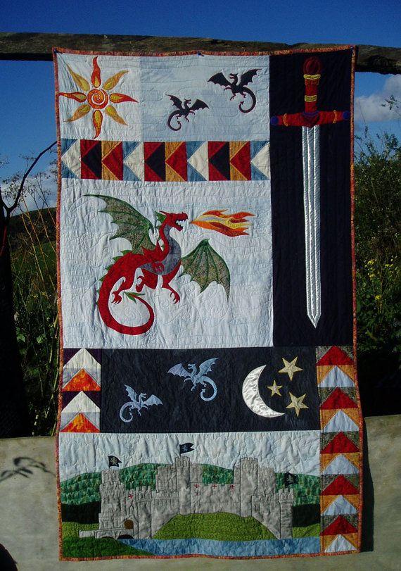 Dastardly Dragon Appliqué Pattern by AotearoaQuiltDesign on Etsy