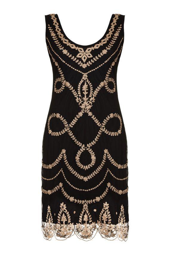 Jade Flapper Hand Emroidered Dress Vintage 1920s Inspired Great