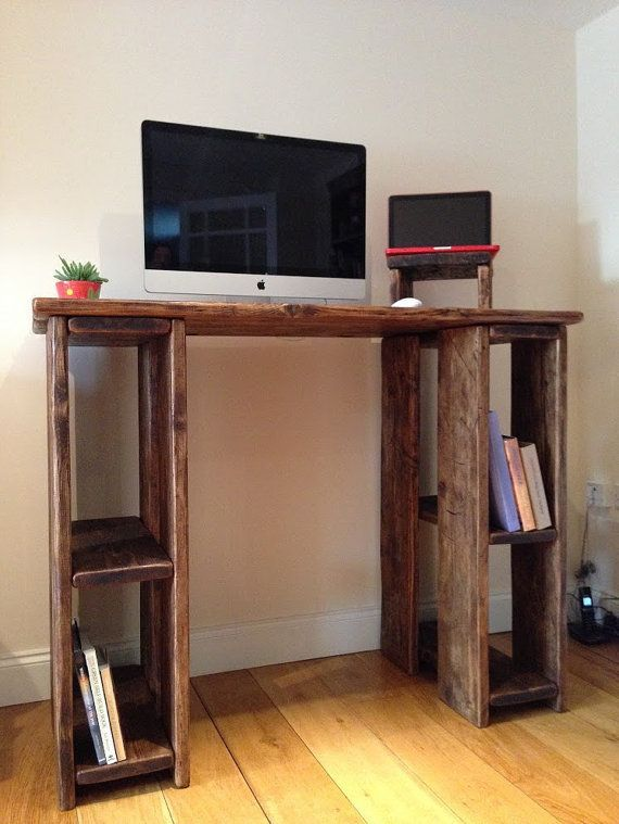 Stand Up Office Designs : Rustic standing desk stand up reclaimed wood