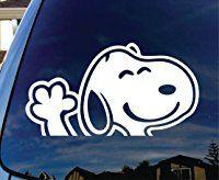 "Snoopy Waving Hi Car Window Vinyl Decal Sticker 5"" Wide"