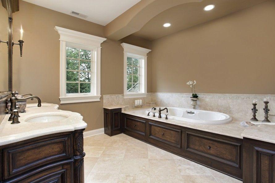 Beige Color Scheme Bathroom With Dark Wood Vanity And Custom Wood