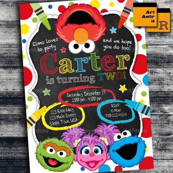 Elmo Invitation Birthday Art Party Crayon Sesame Street Birthda