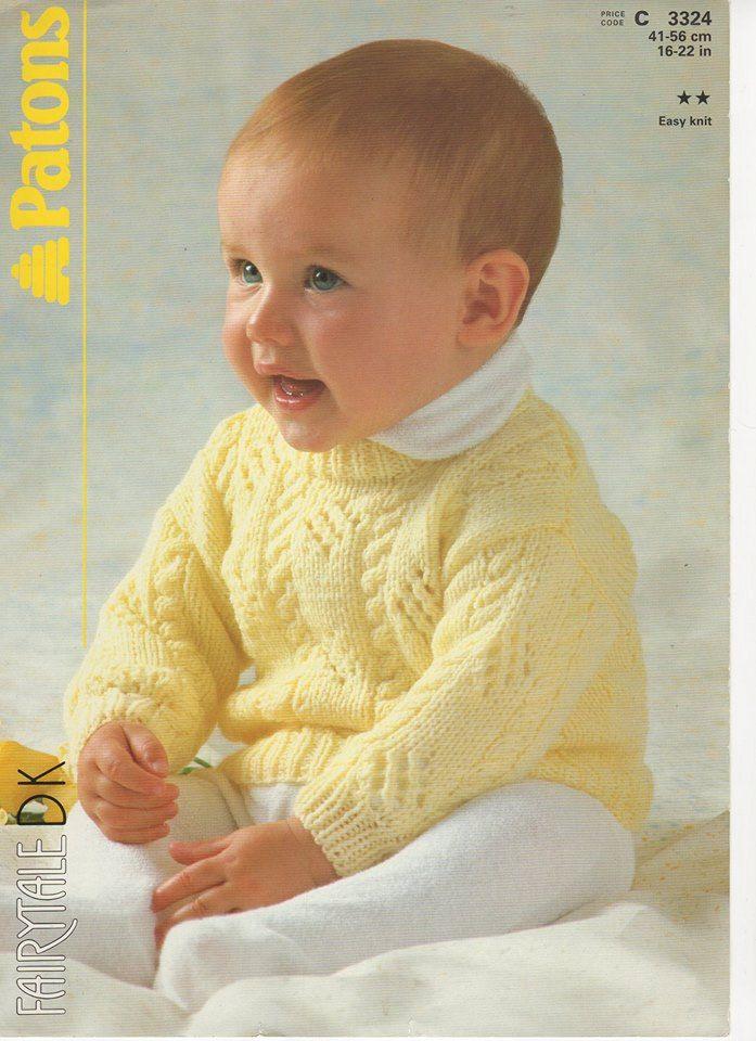 Baby Sweater Knitting Pattern, Baby Slipover Knitting Pattern, Baby ...