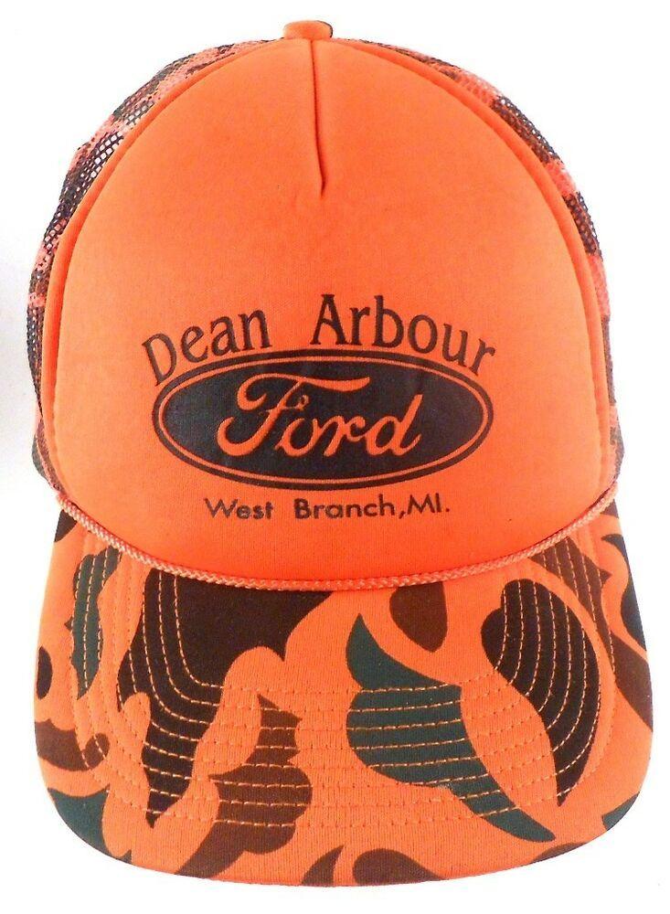 Dean Arbor Ford West Branch Michigan MI Orange Camo Mesh Trucker Hat 39f645acb