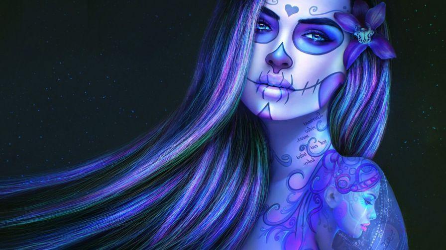Beautiful Sugar Woman HD Wallpaper | Day of the dead girl ...