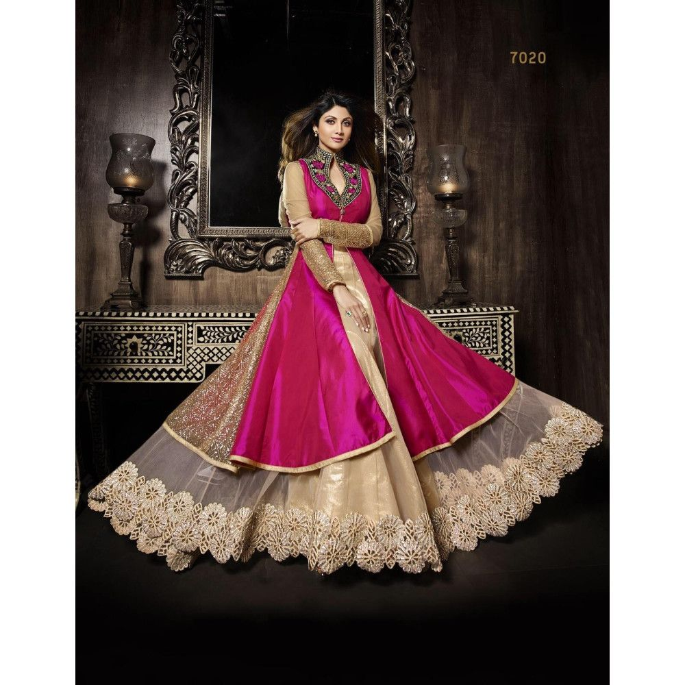 Pink dress to wear to a wedding  A Fabay New Bollywood Designer Embroidered Shilpa Shetty Cream