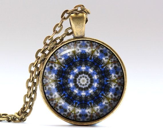 Beautiful Indie necklace. Nice Hippie jewelry in bronze or silver finish. Awesome Mandala pendant with a chain or a leather cord. SIZE: 25 mm (1 inch)