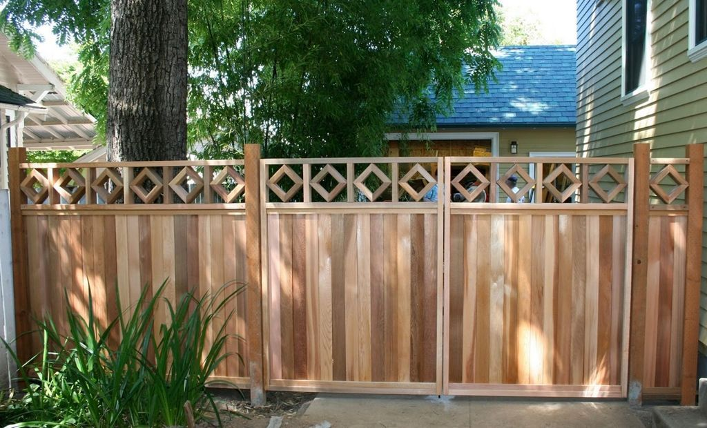 exterior fetching front yard and garden decoration using light oak wooden fence gate - Fence Gate Design Ideas