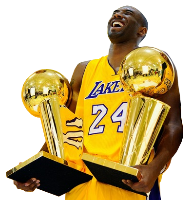 Kobe and the championship trophies Bryant lakers, Los