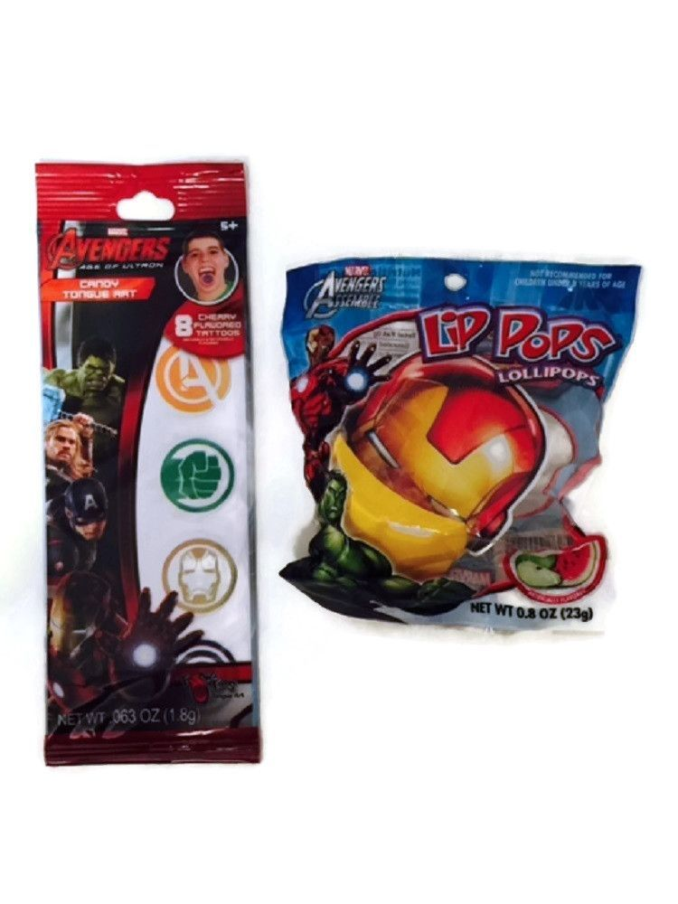Avengers Tongue Tattoo Sucker Bundle Iron Man Marvel Candy Green