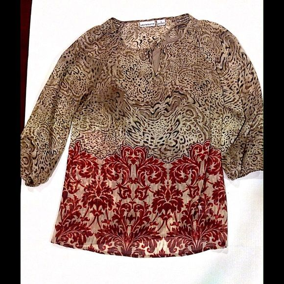 698705e823593 Liz Claiborne Women s Top New Cheetah Print Top with Red Floral Design at  the bottom
