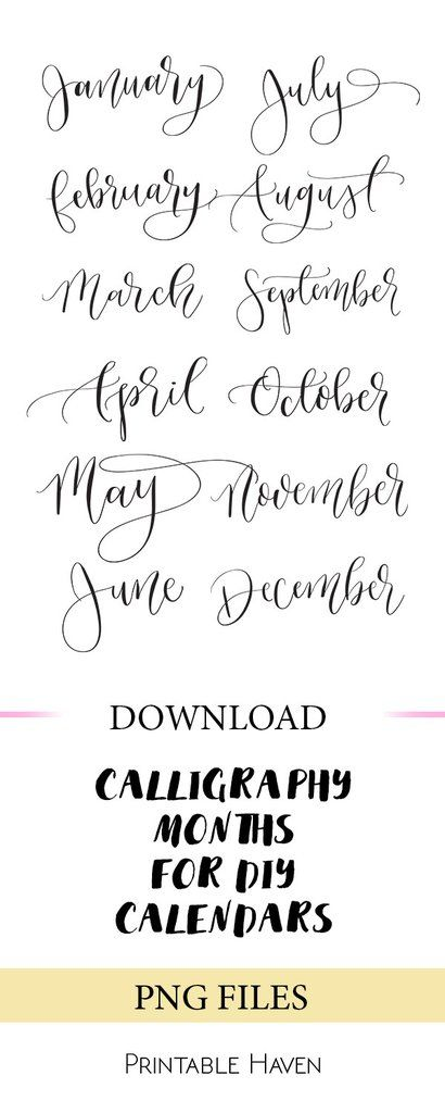 Calligraphy Months | Pinterest | January, December and Template