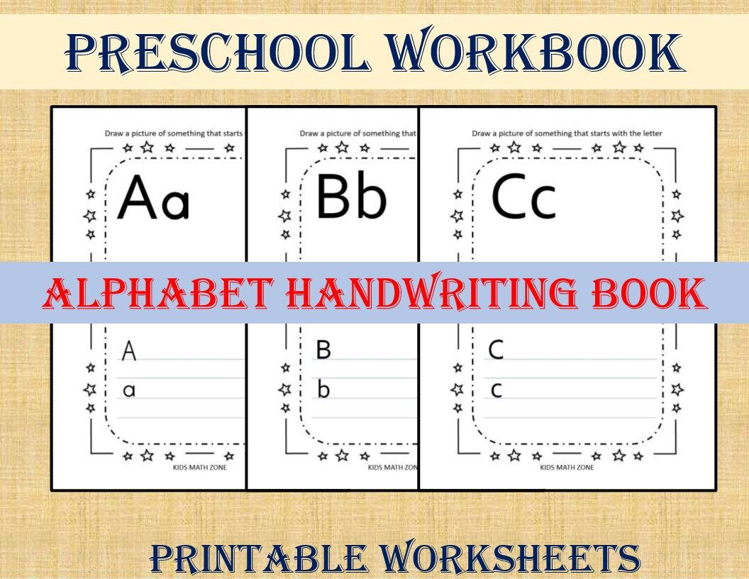 Preschool Workbook Alphabet Handwriting Book Trace The