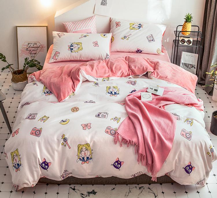 Happy Sailor Moon Bedding Set Luxury, Sailor Moon Bedding Queen