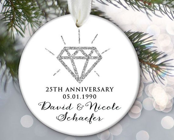 Anniversary Personalized Christmas Ornament by LilStinkerDesign
