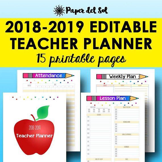 2018-2019 Teacher Planner Printable Instant Download Letter Size, 12