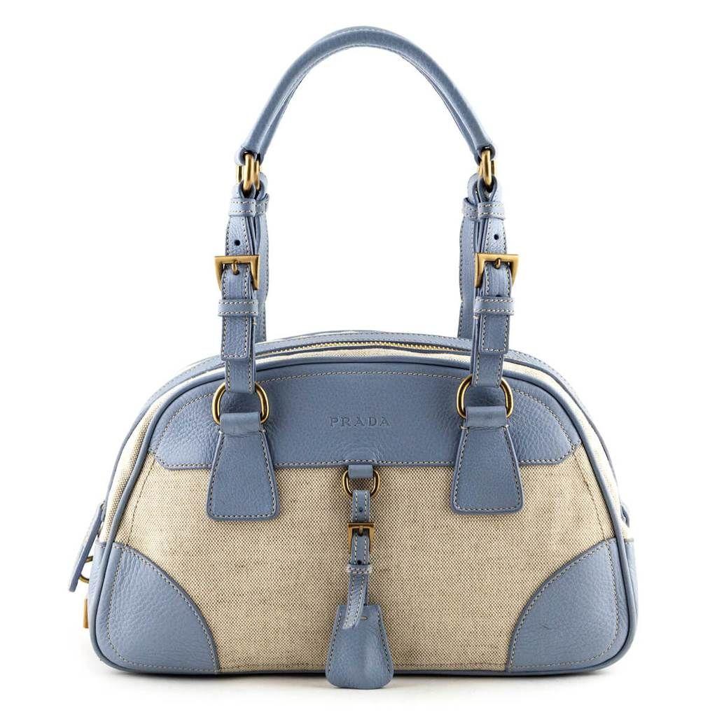 Prada Light Blue Beige Bowler Bag Bags Bowler Bags Designer