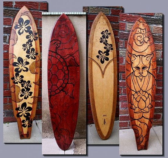 Kustom Woodburned Skateboard Decks Ride Or Hang By Notedesigns - Self taught woodworker turning old skateboards awesome sculptures