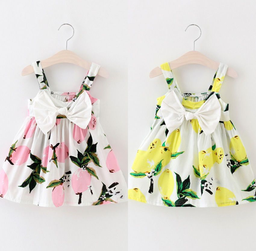 Summer infant neonate floreale dress lemon stampa bowknot vestito estivo abbigliamento 0-3y
