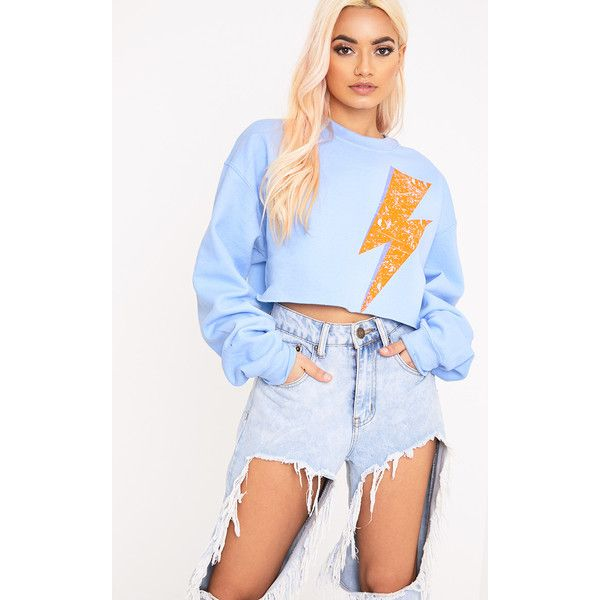 Lightning Slogan Light Blue Cropped Sweater ($23) ❤ liked on ...