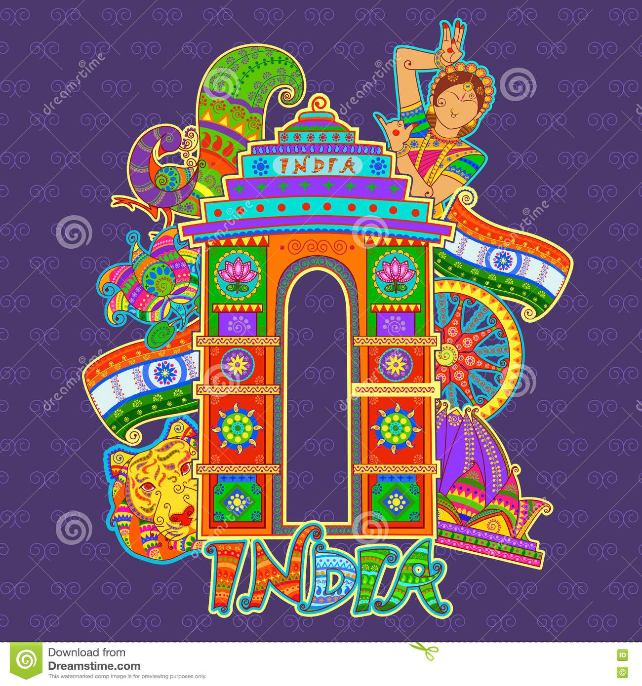Monument And Culture Of India In Indian Art Style Stock Vector