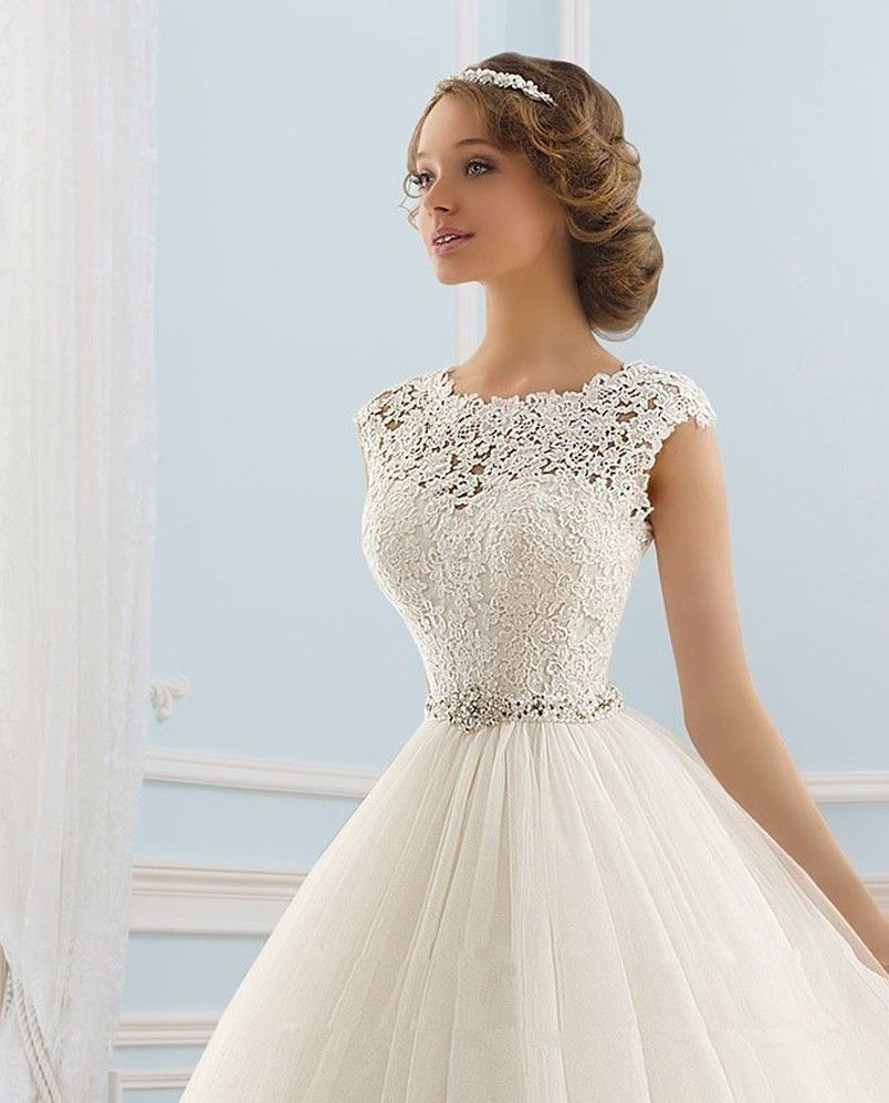 Cap Sleeve Ball Gown Wedding Dresses Low Back