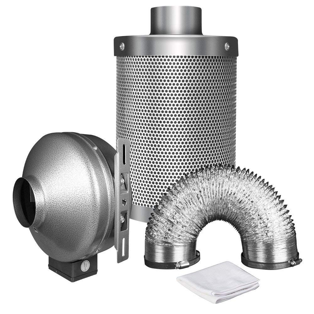 Ipower 6 Inch 442 Cfm Duct Inline Fan With 6 Carbon Filter 16 Feet Ducting Combo For Grow Tent Ventilation To Vi Inline Fan Carbon Air Filter Carbon Filter