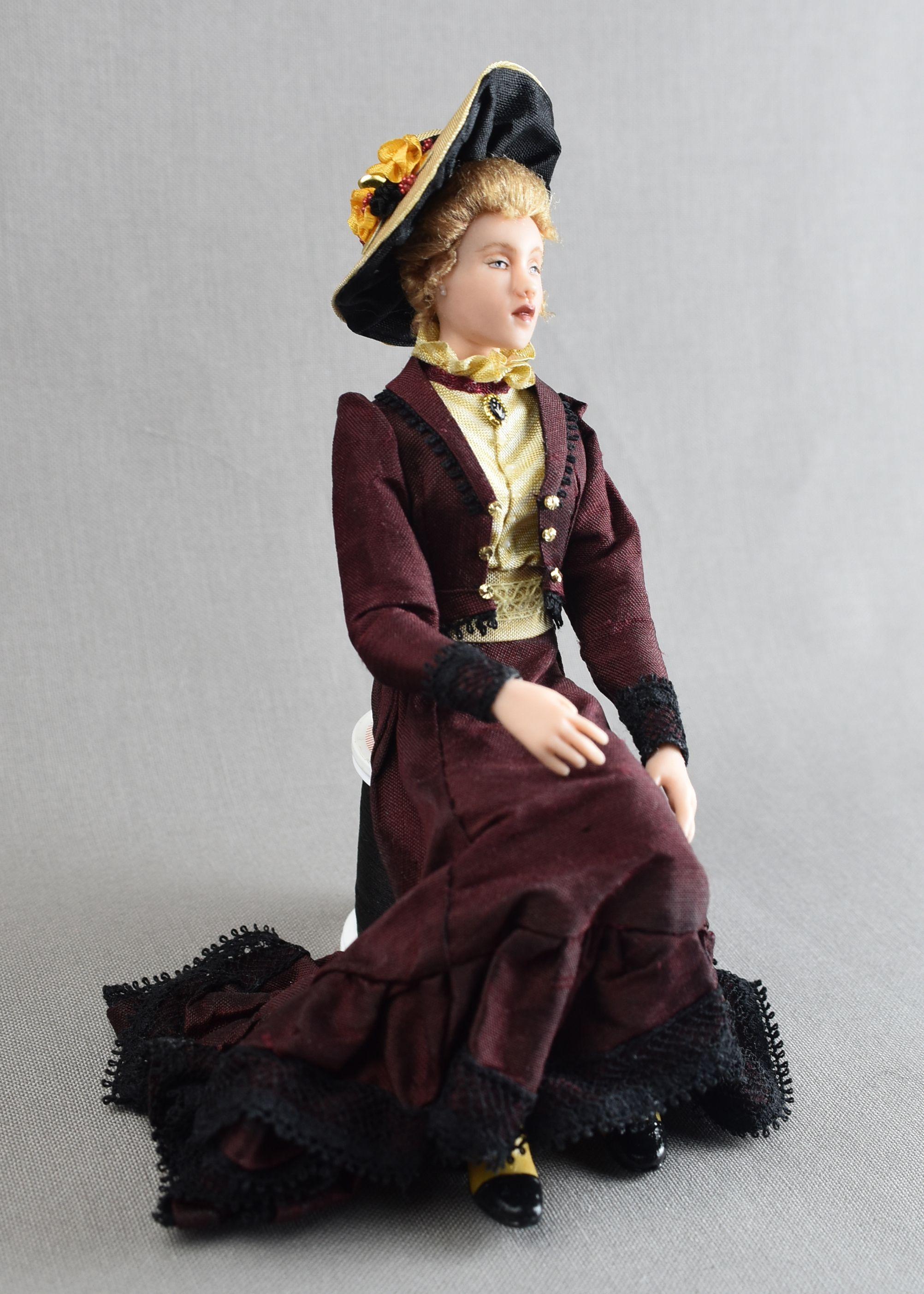 1 12 Scale Edwardian Lady By Lilli S Littles Edwardian Fashion Dollhouse Dolls Lady