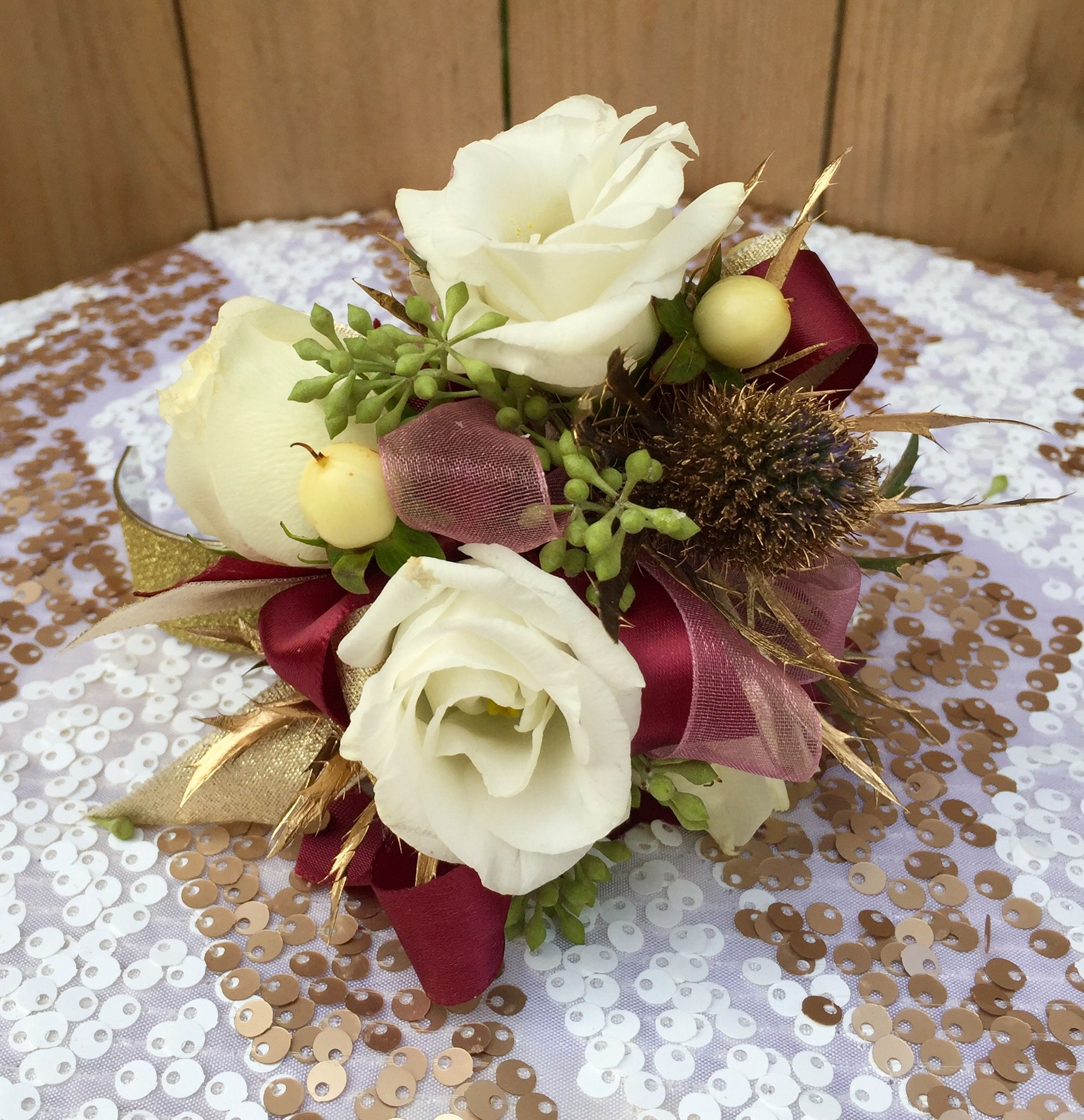 Wedding Flowers By Annette: White Gold And Burgundy Prom Flowers, Prom Corsage, Prom