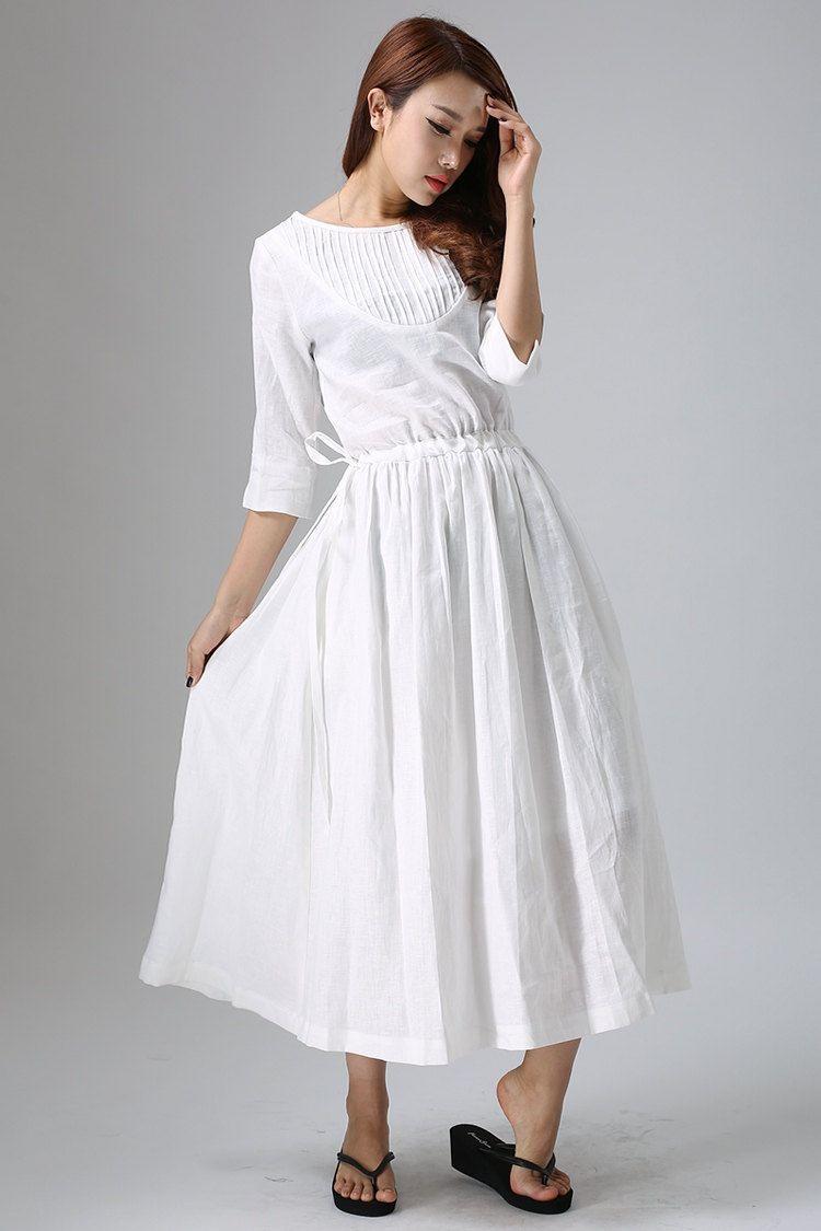 White linen dress pleated dress elastic waist dress three quarter