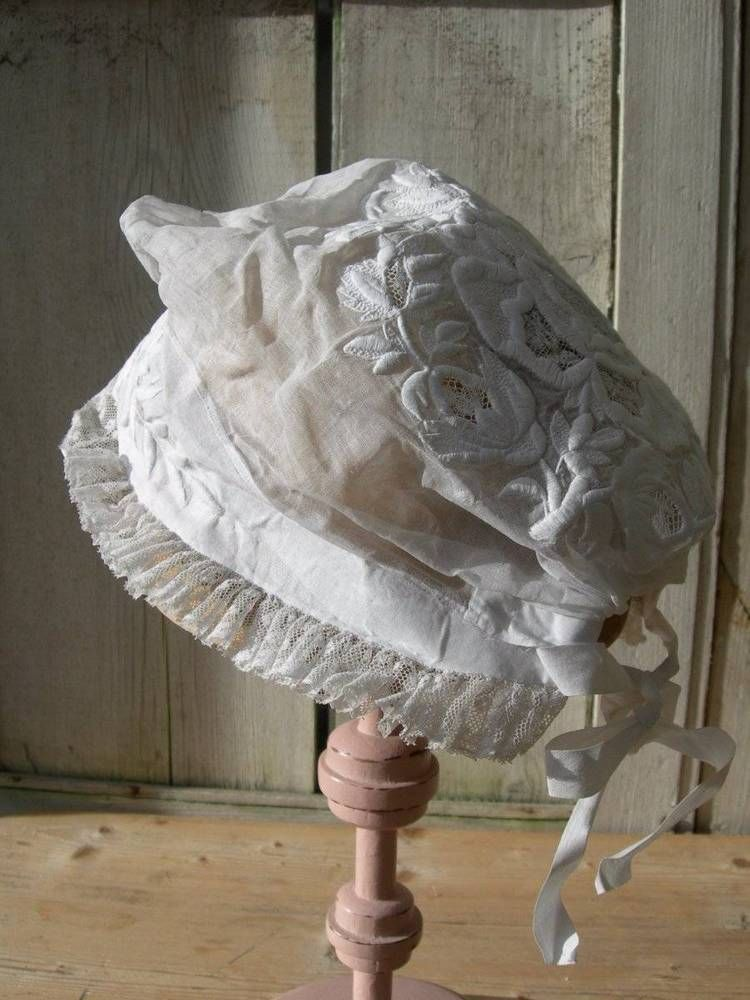 Beautiful antique French 1880s hand embroidered whitework & lace cap bonnet