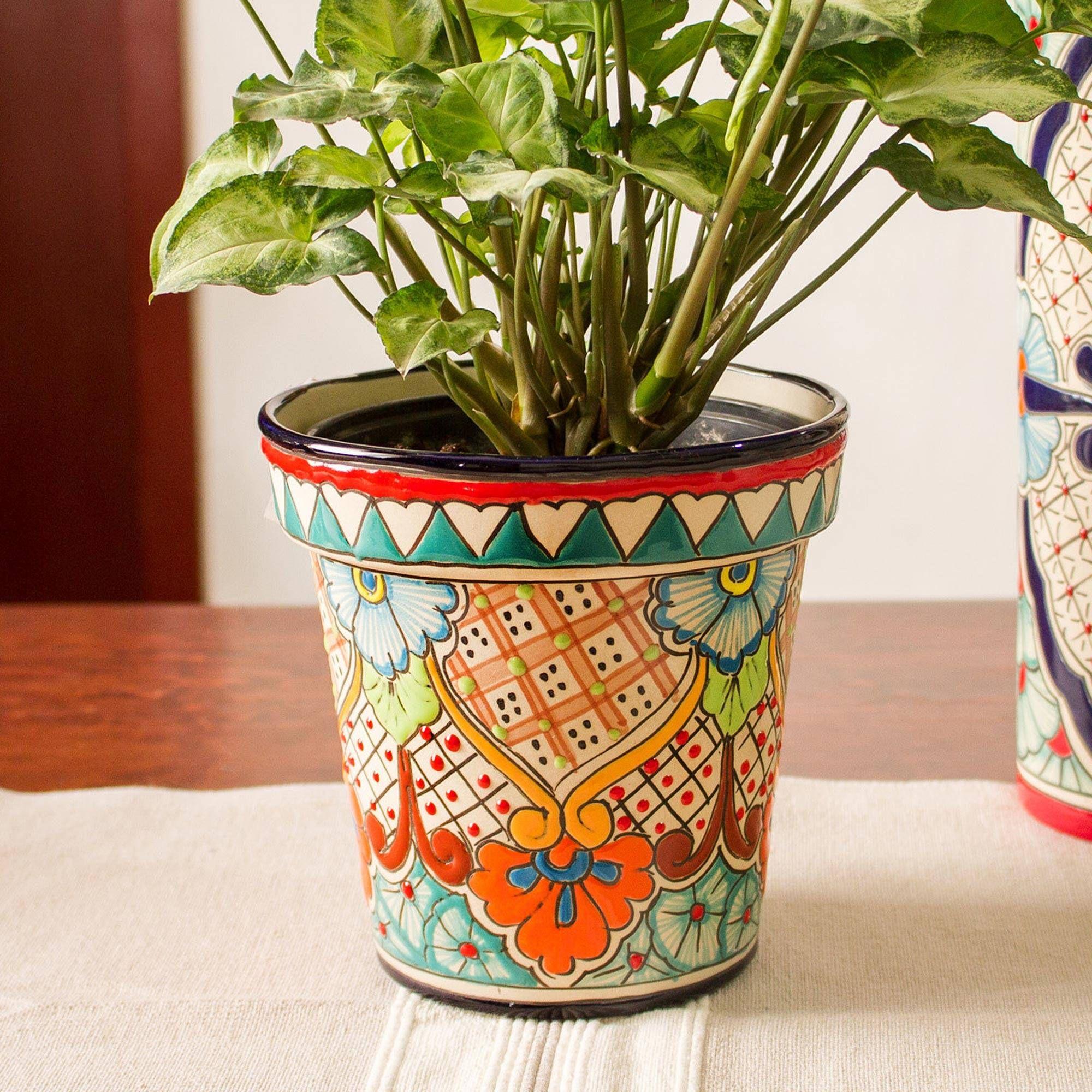 Ceramic flower pot sunlit garden 65 inch painted