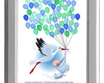 BABY SHOWER FINGERPRINT guest book, fingerprint guest book, Stamp Me stork with baby, Baby Shower Poster Gift 13x19  num.106