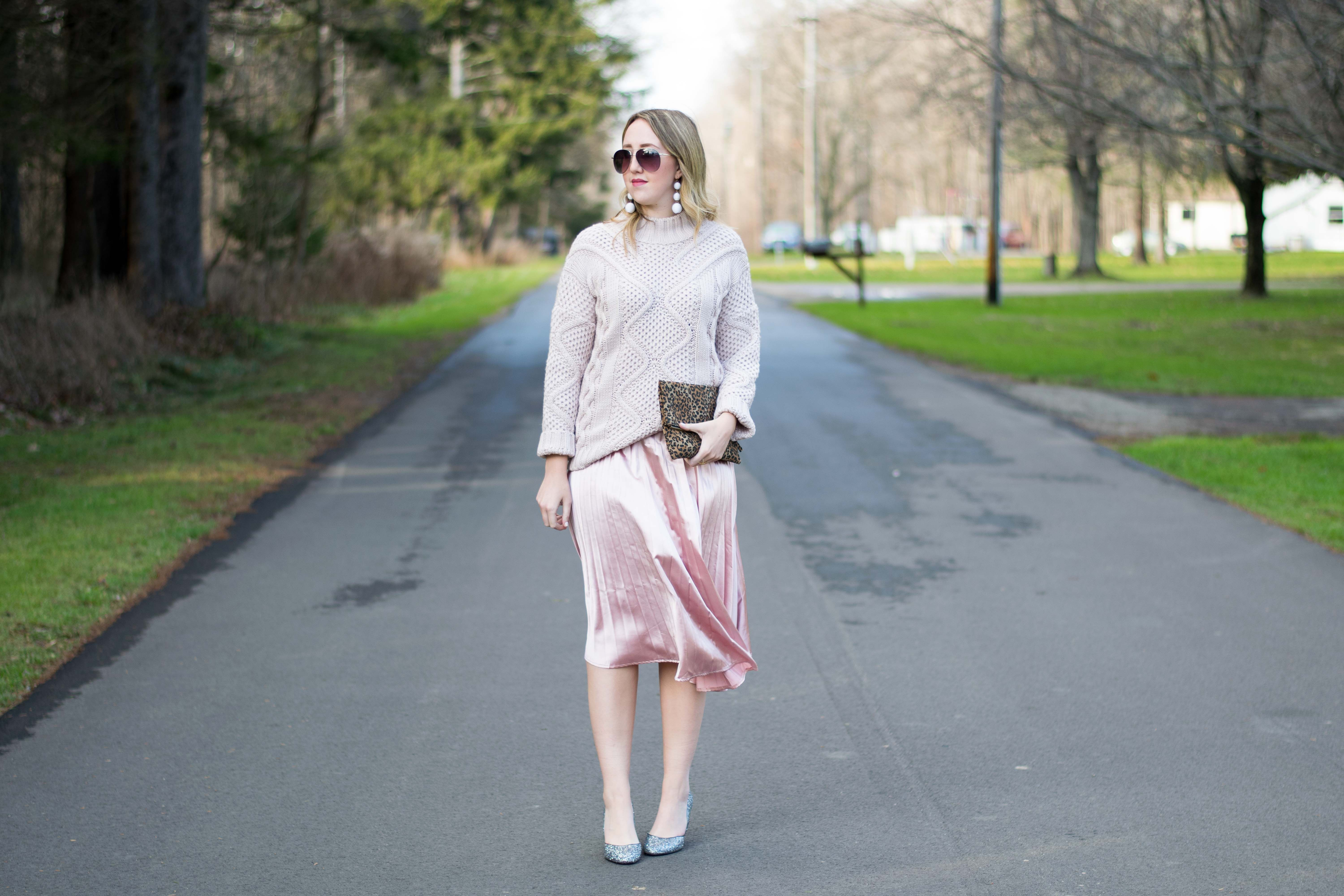 Satin pleated skirt // Emillion Thoughts, casual holiday party ...