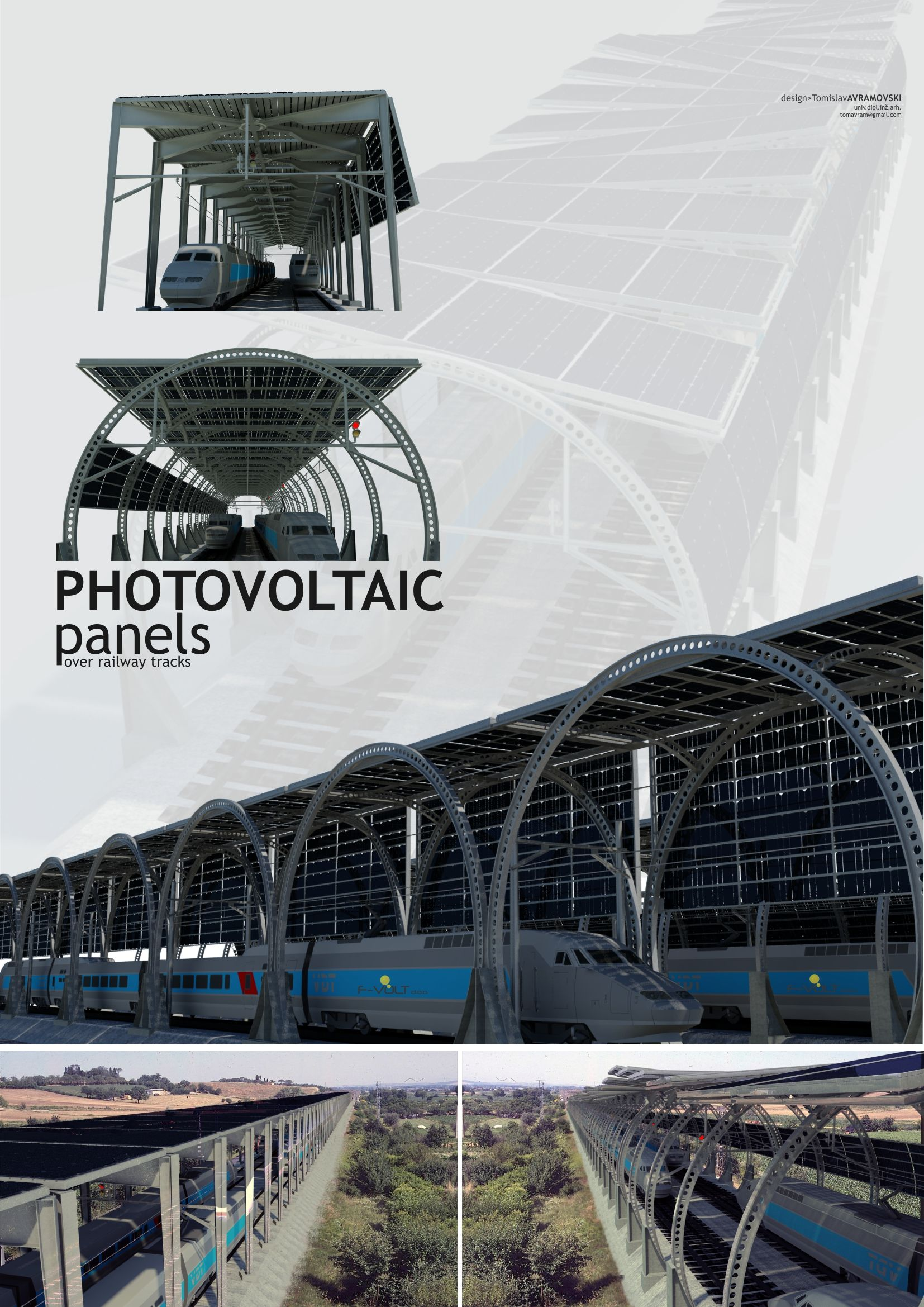 Innovative construction for photo-voltaic panels over railway tracks