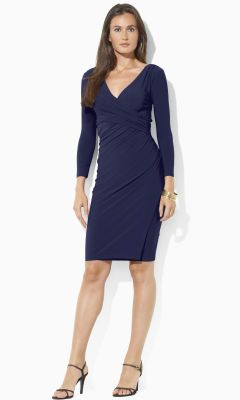 Faux-Wrap Jersey Dress - Lauren Short Dresses - RalphLauren.com