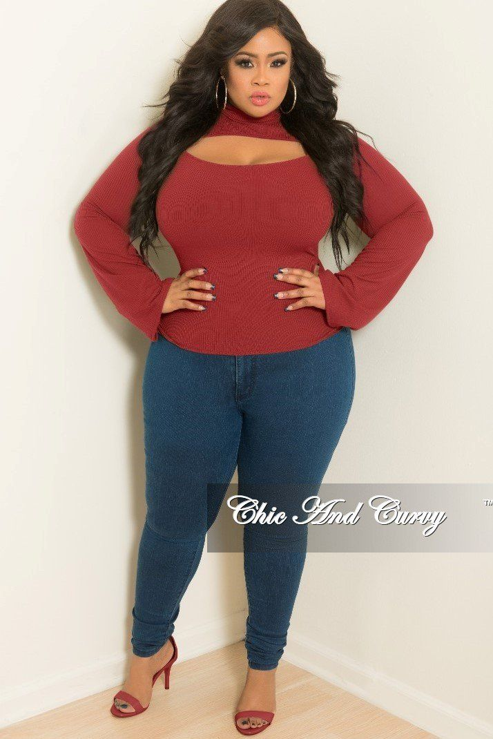 New Plus Size Long Sleeve Top with Front Cutout in Burgundy ...