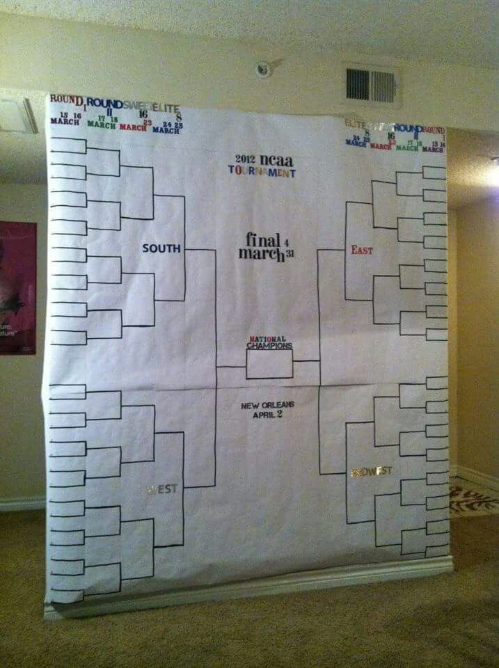 march madness covered an entire wall with paper and made it into a bracket as