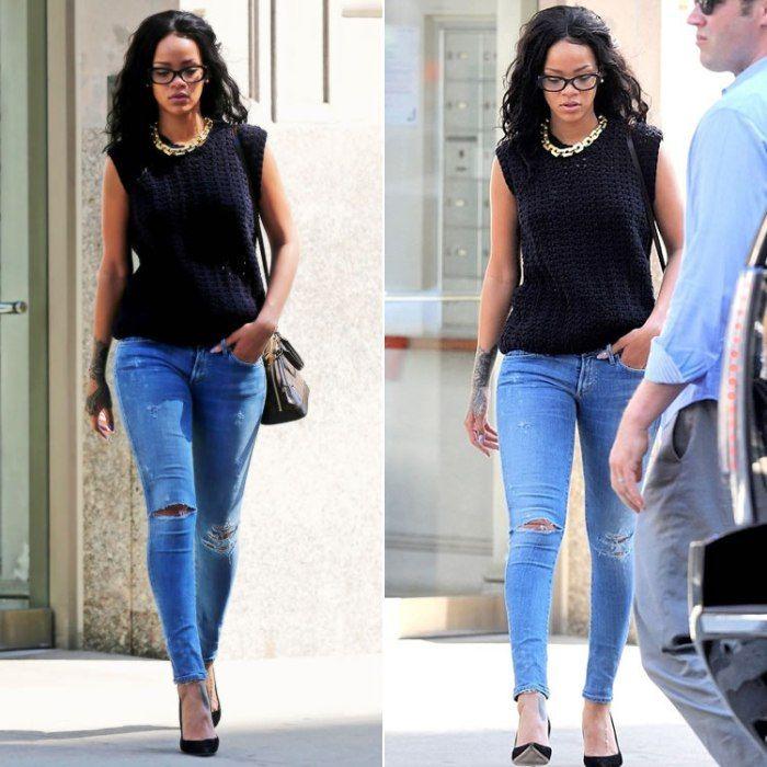 Rihanna wearing Citizens of Humanity Racer skinny jeans, Manolo Blahnik BB  suede pumps, Louis