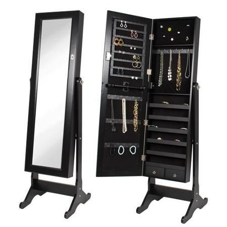 Fulllength mirror with a hidden jewelry case indicates inner beauty