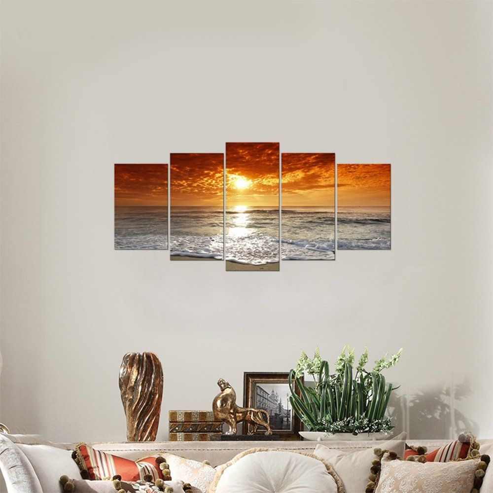 Wieco Art   Grand Sight 5 Panels Modern Landscape Artwork HD Seascape  Giclee Canvas Prints Sea
