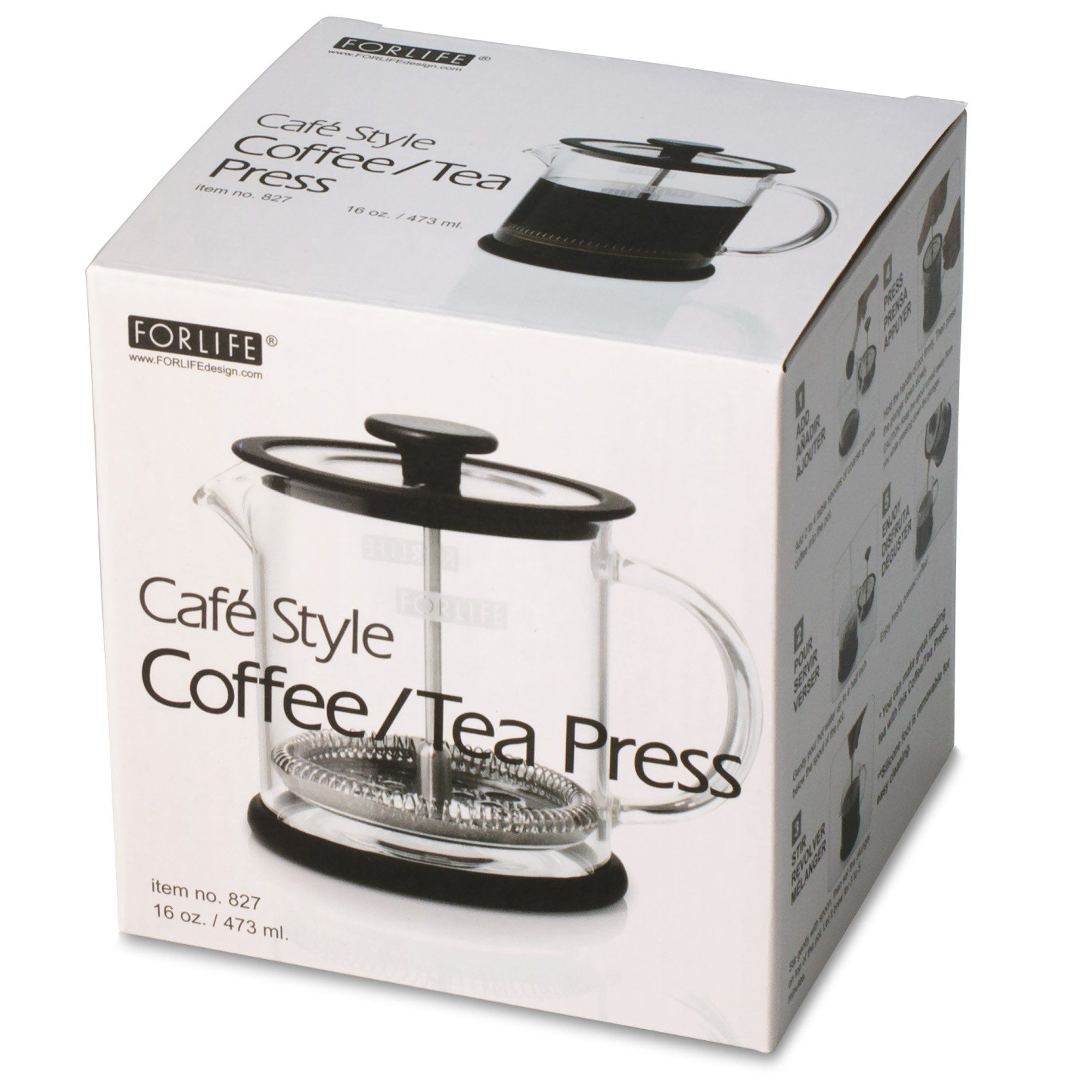 Forlife Cafe Style Glass Coffeetea Press 16Ounce Black *** You