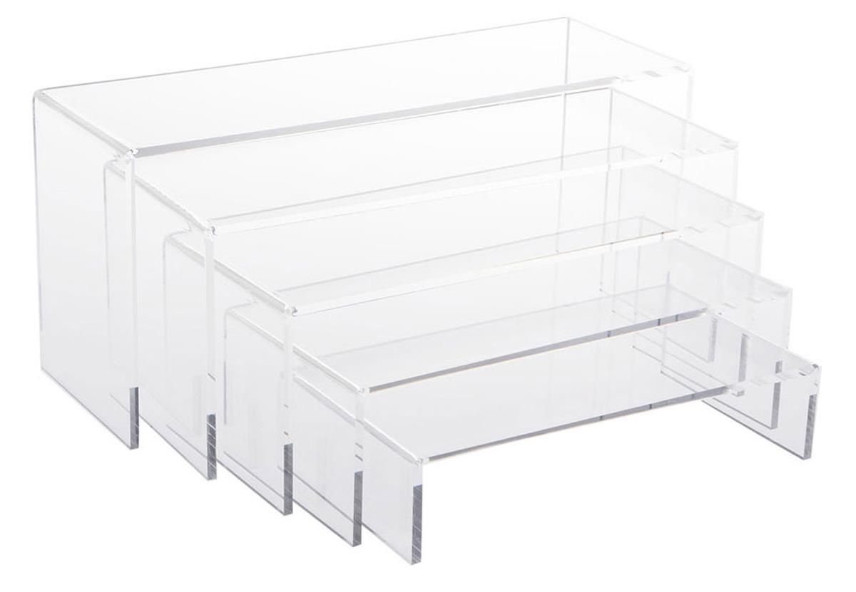 ushaped acrylic risers set of 5 different sizes clear